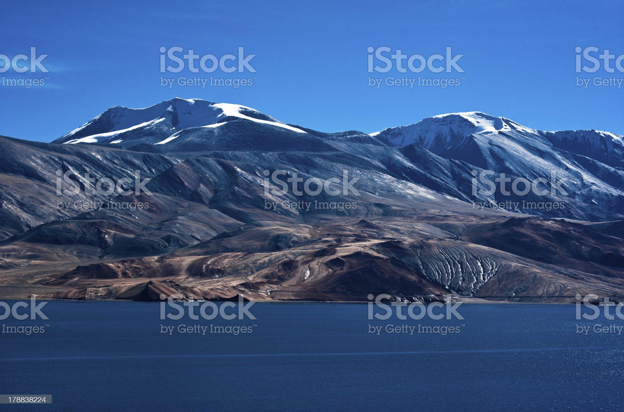 Morning at Tso Moriri Lake. Himalaya mountains range landscap royalty-free stock photo