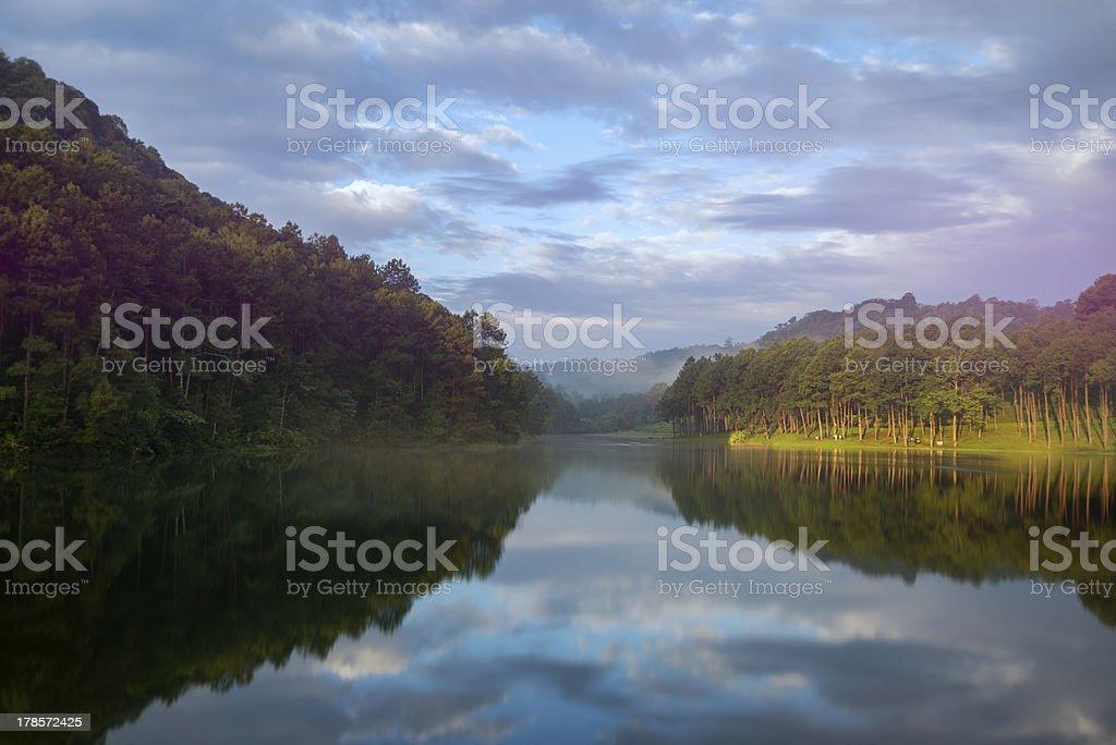 morning at urban village, Mae Hong Son, Thailand royalty-free stock photo