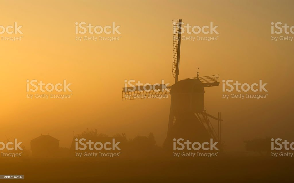 Morning Atmosphere Wingerdse mill stock photo