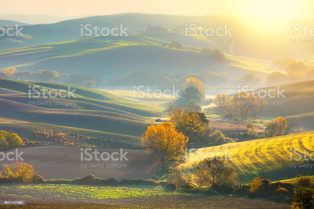 Morning Autumn landscape -  fall season and sunshine stock photo