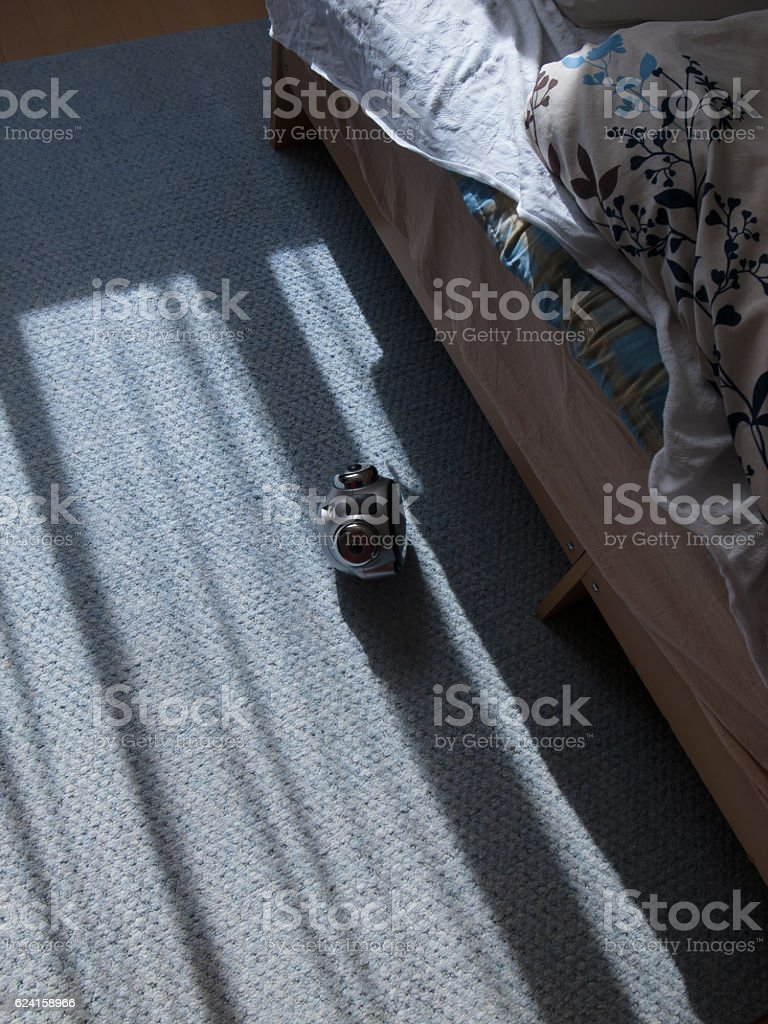 Morning bed side stock photo