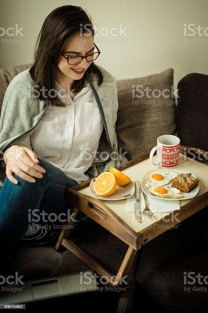 Morning breakfast before work stock photo