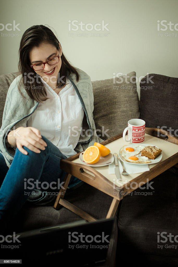 Morning breakfast in bed stock photo