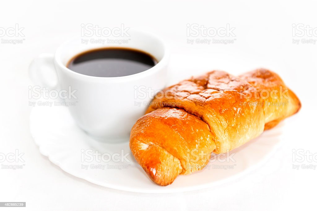 Morning Breakfast with Croissant and Coffee royalty-free stock photo