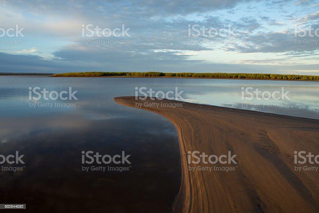 Morning calm river. stock photo