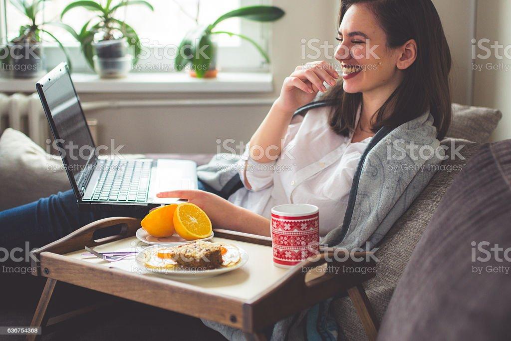 Morning carefree smile stock photo