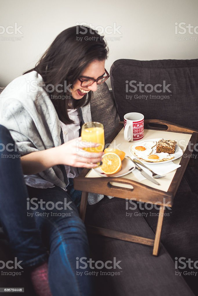 Morning carefree whit breakfast in bed stock photo
