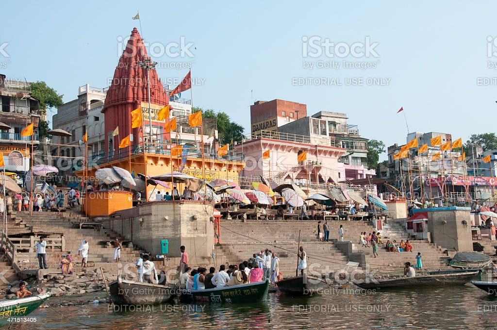 Morning ceremony in Ganges river royalty-free stock photo