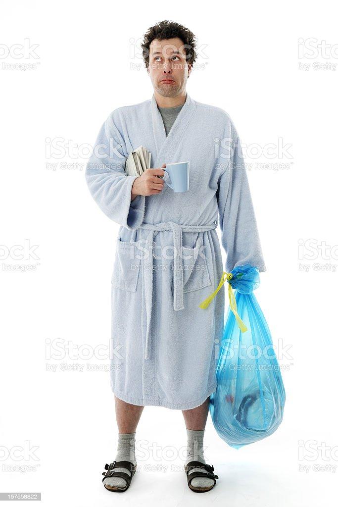 Morning Chores - 'Sad' Man stock photo