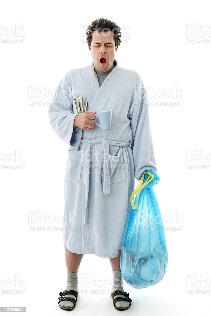 Morning Chores - Yawning Man stock photo