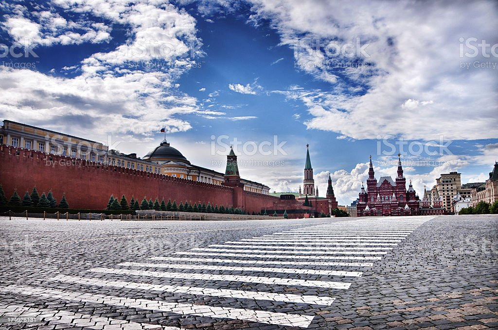Morning Cityscape with Empty Red Square in Moscow stock photo