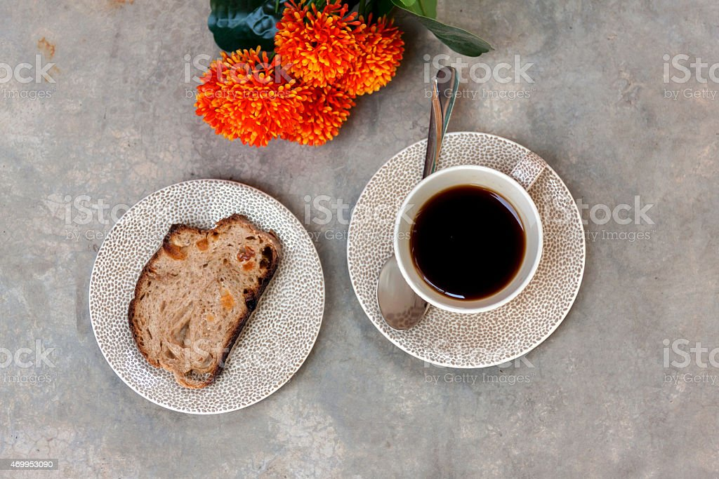 Morning coffee and bread royalty-free stock photo