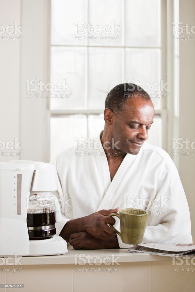 Morning Coffee and Newspaper royalty-free stock photo