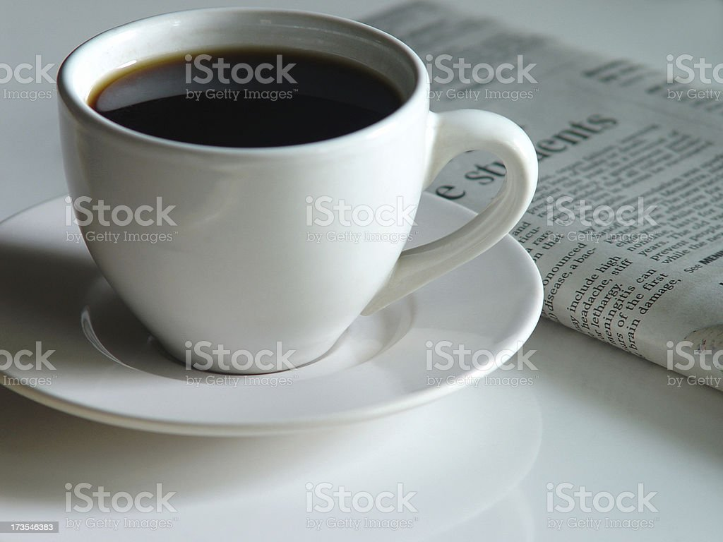 Morning Coffee and Paper royalty-free stock photo