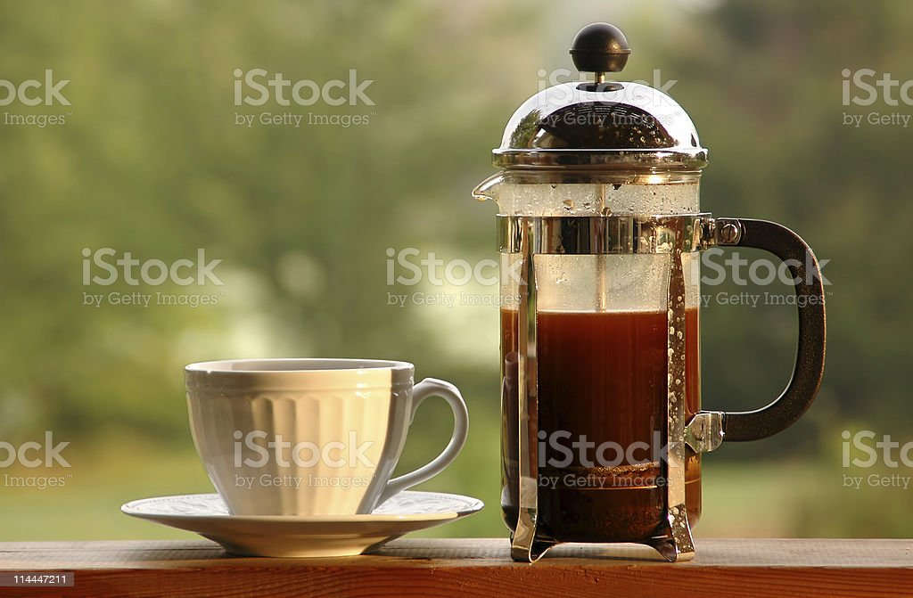 Morning Coffee at the Lake stock photo