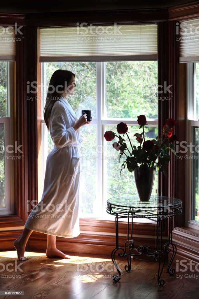 Morning coffee by the window royalty-free stock photo