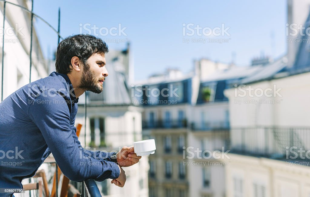Morning Coffee in a Sunny Balcony stock photo