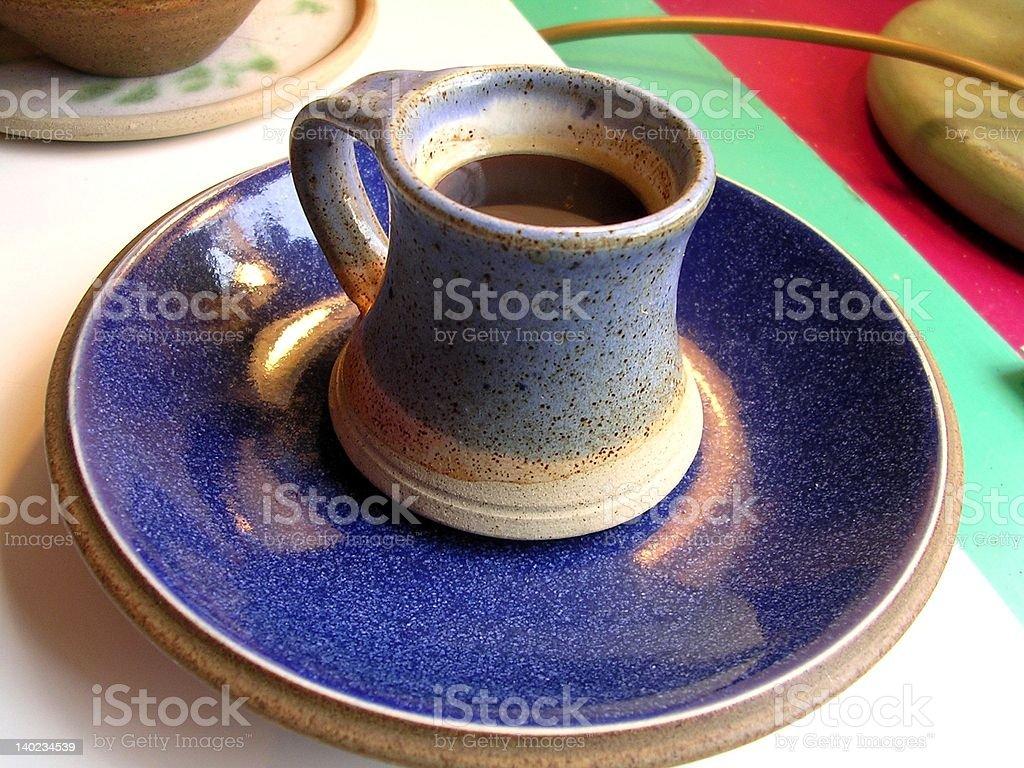 Morning Coffee in Blue Mug royalty-free stock photo