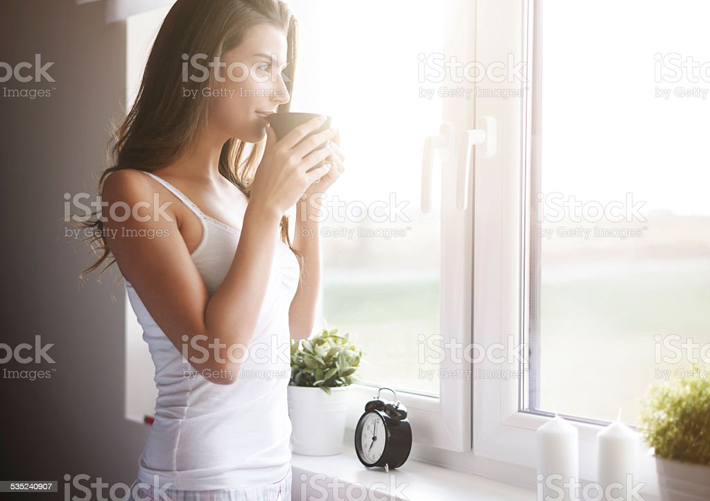 Morning coffee is my daily routine stock photo