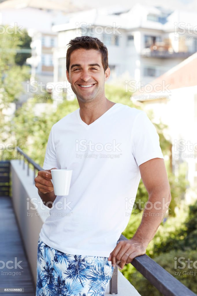 Morning coffee on balcony stock photo