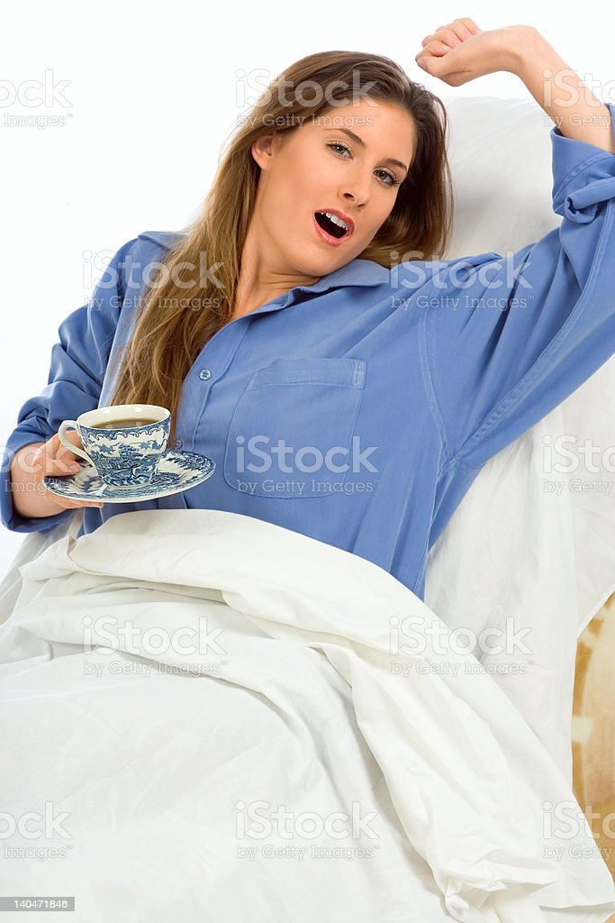 Morning coffee (focus on cup) stock photo