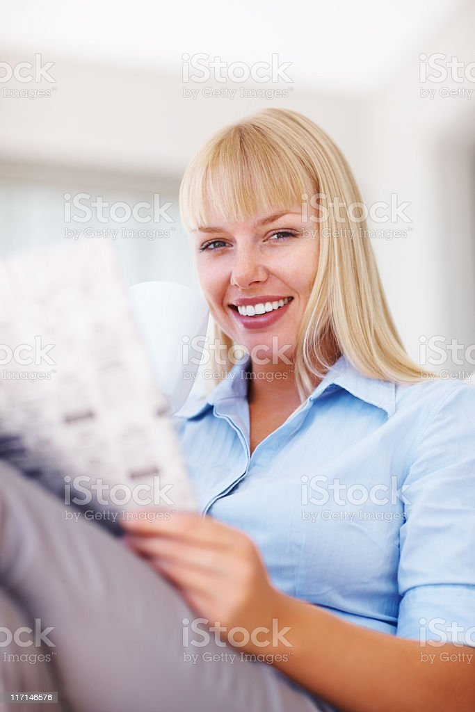 Morning coffee with newspaper royalty-free stock photo