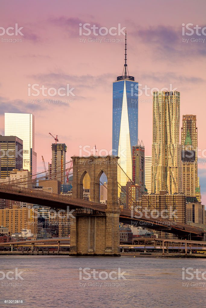 Morning colors of famous New York Landmarks, NYC, USA stock photo