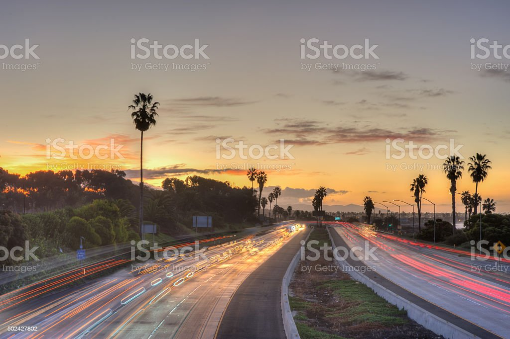 Morning commute blends into a blur stock photo