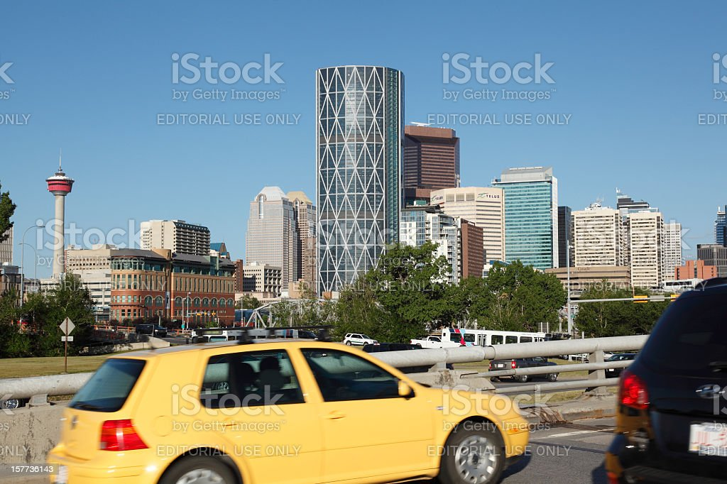 Morning Commute Into Downtown Calgary. stock photo