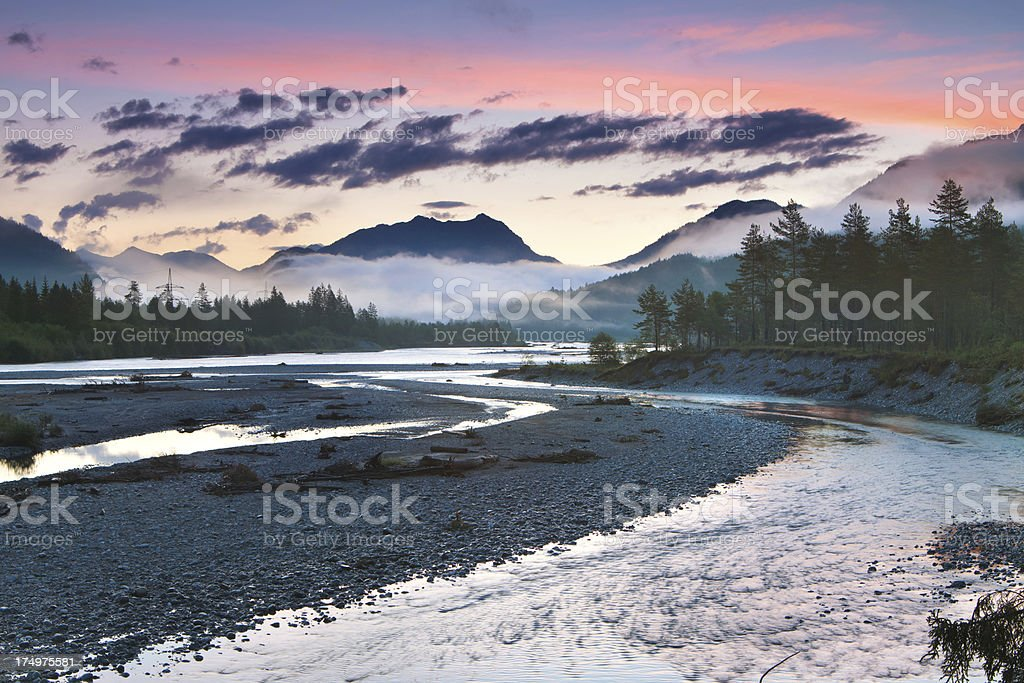 morning dawn at the lech river near forchach, tirol, austria stock photo