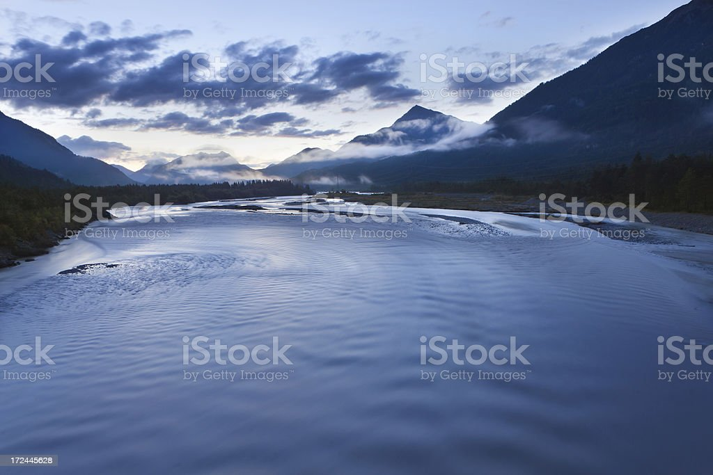 morning dawn at the lech river, village weissenbach, tirol, austria stock photo