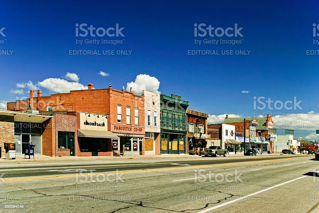 Morning day at authentic street in style wild west stock photo