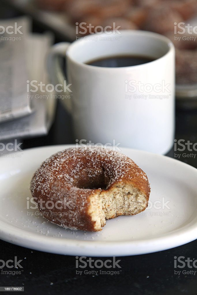 Morning Donut, Coffee & Paper stock photo