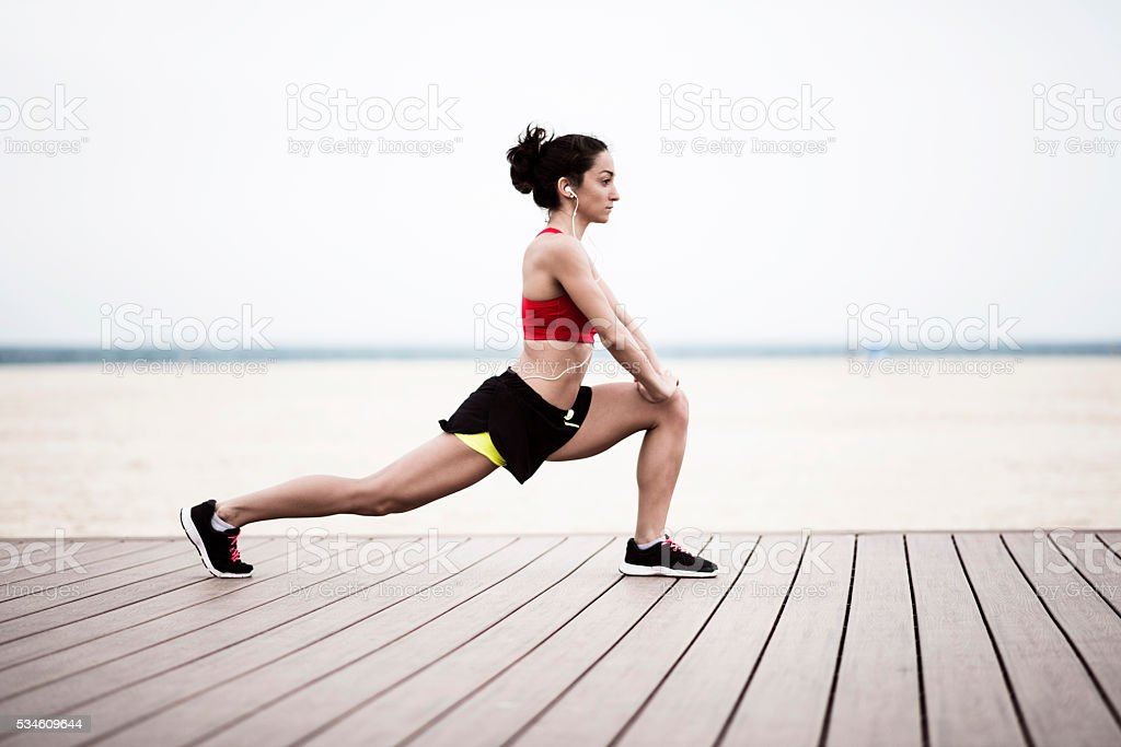 Morning exercise stock photo