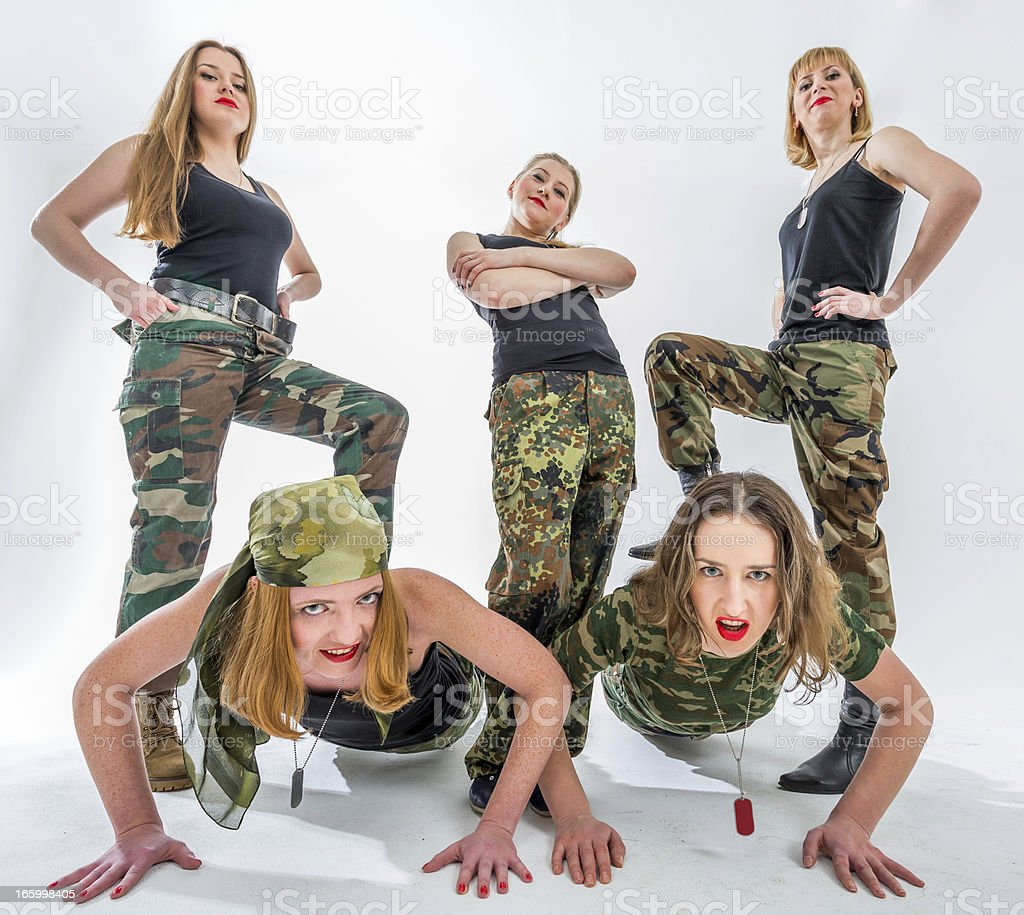 Morning exercises for military ladies royalty-free stock photo