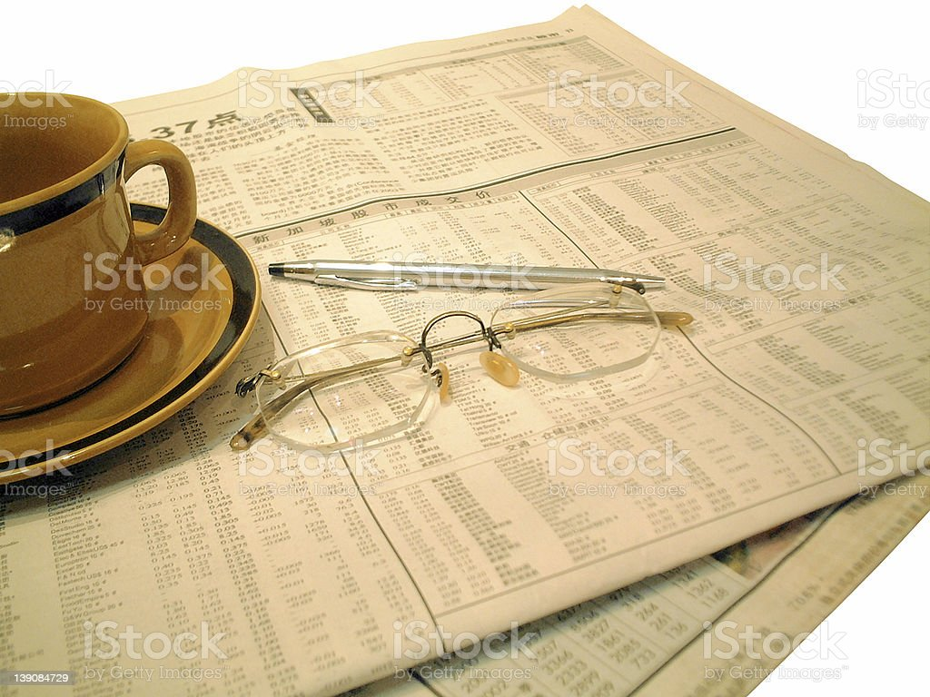 Morning Financial News stock photo