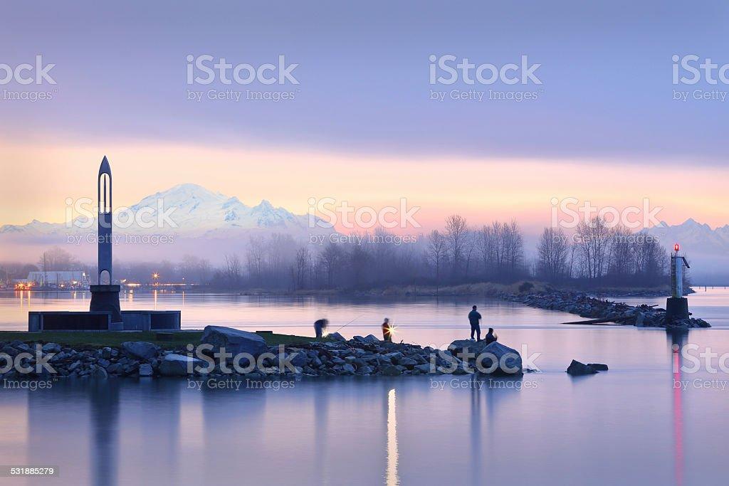 Morning Fishermen, Steveston Harbor stock photo