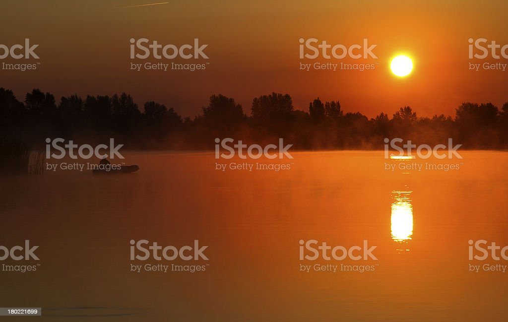 morning fishing, dawn royalty-free stock photo