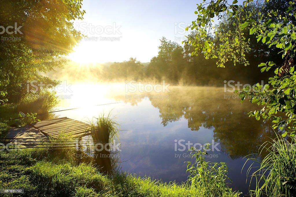 Morning fishing stock photo