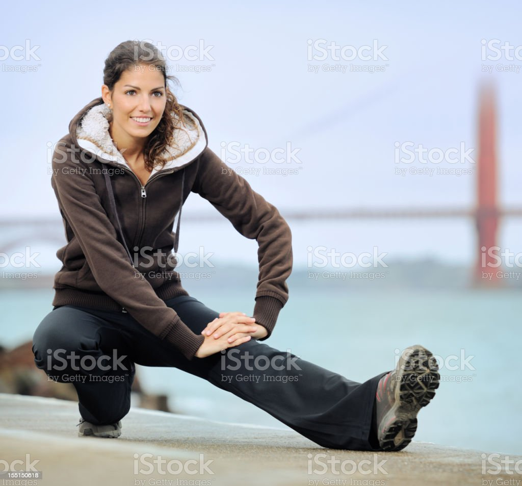 Morning Fitness, Golden Gate Bridge, San Francisco royalty-free stock photo