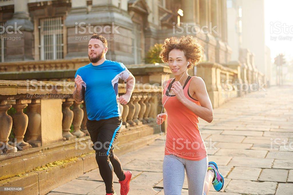 morning fitness joggers stock photo