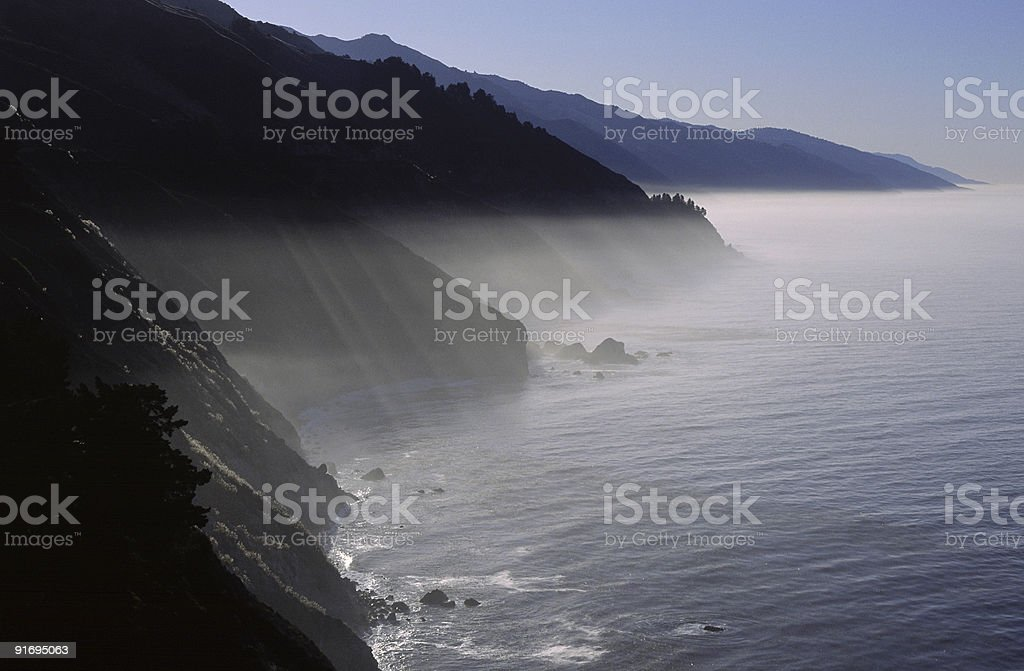 Morning fog along the Pacific Coast of California stock photo