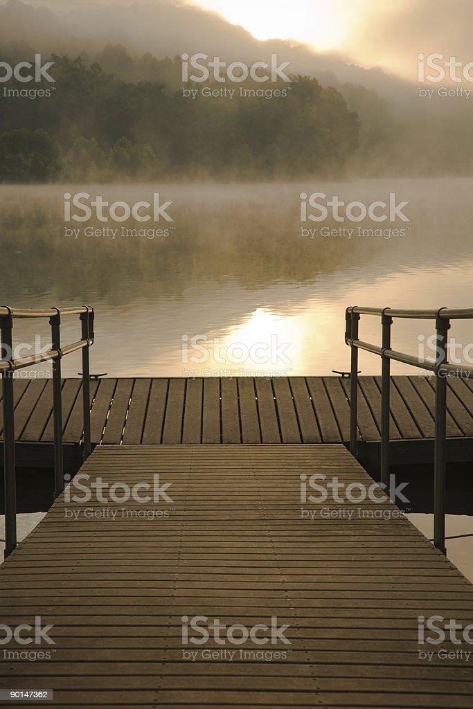 Morning Fog At Dock royalty-free stock photo