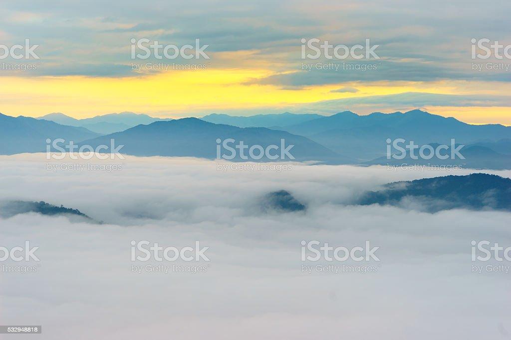 Morning fog at doi samer dao stock photo