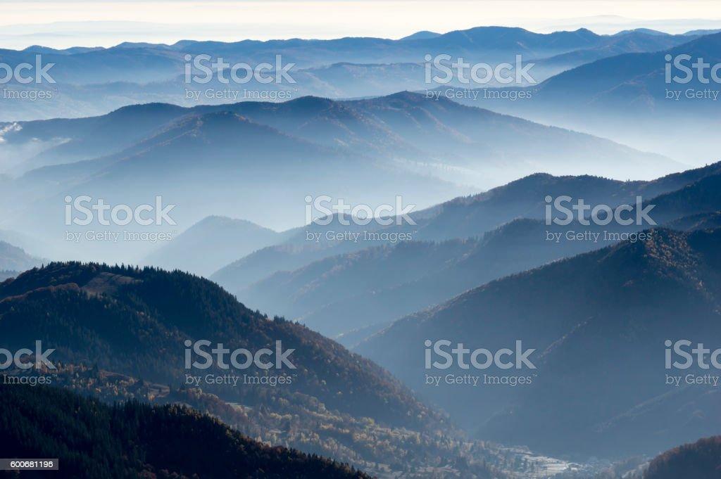 Morning fog in autumn stock photo