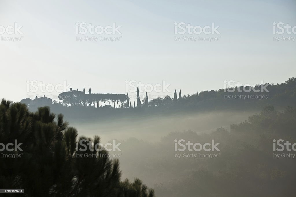 morning fog in Tuscany royalty-free stock photo