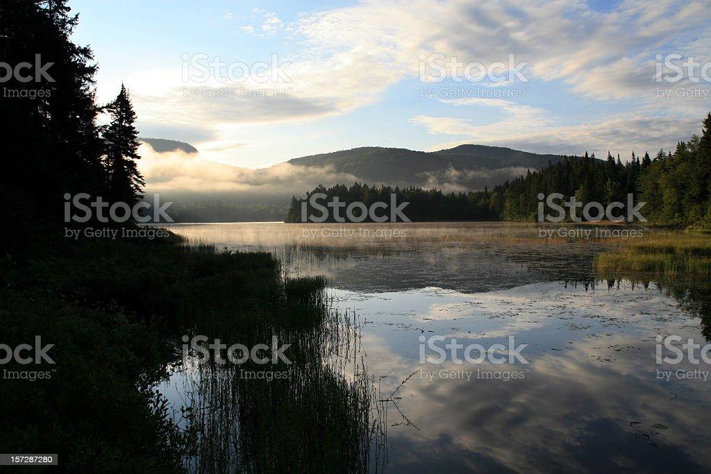 Morning Fog on Lake at Sunrise in Summer stock photo