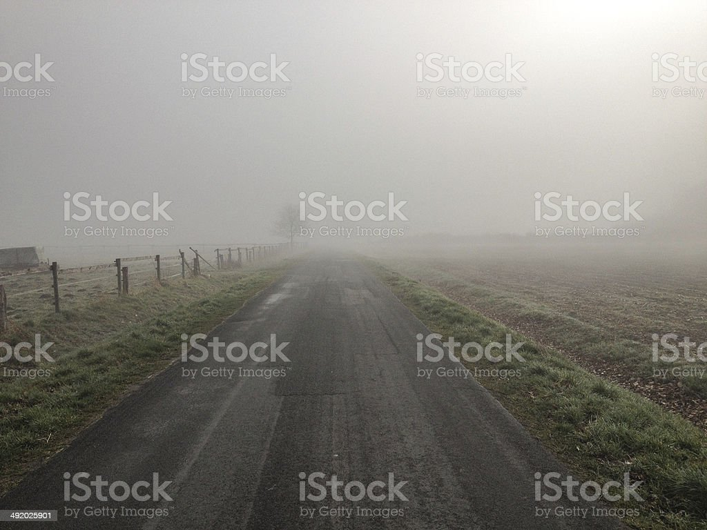 Morning fog on street stock photo