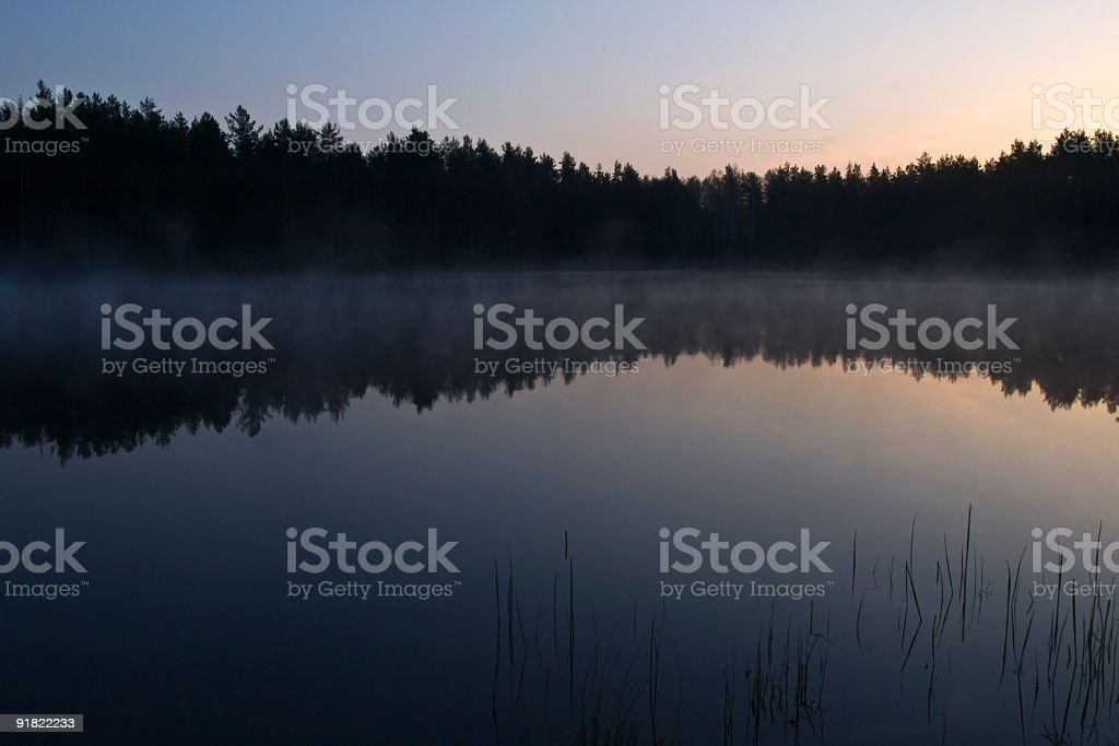 morning fog on the lake at dawn royalty-free stock photo