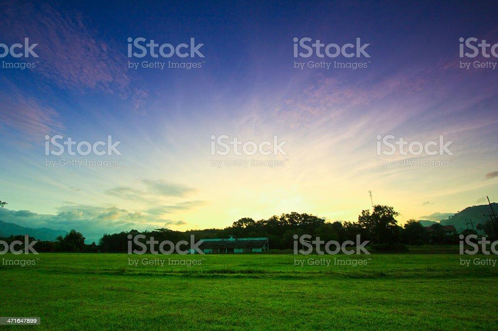 Morning football  stadium with sunrise royalty-free stock photo